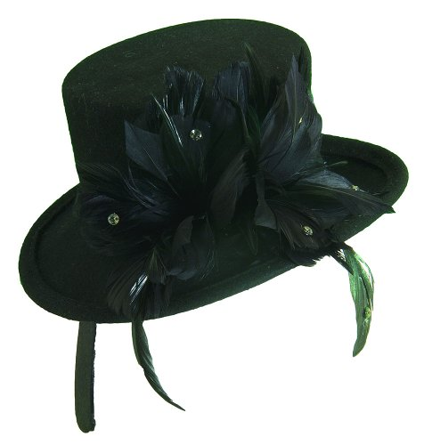 Wool Felt Top Hat Adult (Scala Women's Wool Felt Feather Top Hat Fascinator Black One Size)