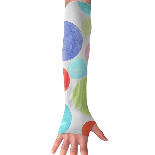 PINK CACTUS Dreamy Colored Dots.jpeg Sports Arm Sleeves With Thumb Holes Anti-uv Sun Protection Golf Driving Sports Arm Sun Sleeves Gloves For Women ()