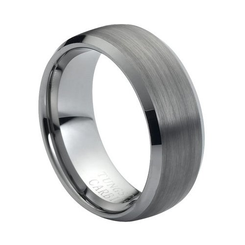 - Tungsten Carbide Brushed Center Low Beveled Edge 8mm Wedding Band Ring, 9.5 Size