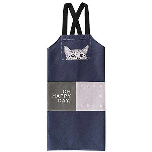 YXDZ Cat Cartoon Apron Cotton Linen Art Men and Women Sleeveless Home Kitchen Cooking Apron Baking Waist Gown Cat 1 8686Cm (Lord Of The Rings Names For Cats)