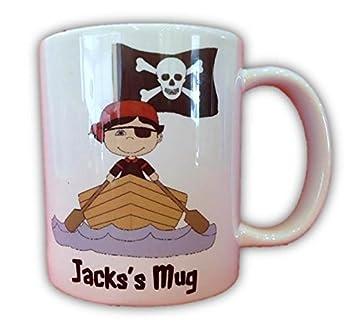 Amazon.com: Para niños personalizable pirata taza con caja ...