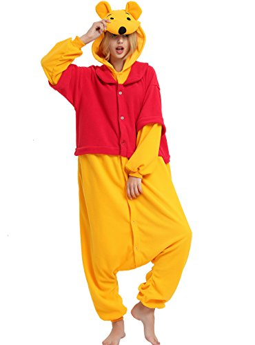 Winnie Onesie Adult. Winnie Costume Kigurumi Pajama for Women Men and Teens.L
