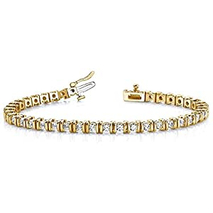 18K Yellow Gold Diamond Round Brilliant Channel Set Tennis Bracelet (3.9ctw.) - Size 9.25
