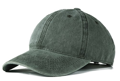 Edoneery Men Women Cotton Adjustable Washed Twill Low Profile Plain Baseball Cap Hat (Army Green)