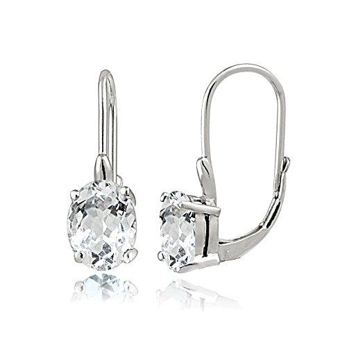 Aquamarine Earrings Leverback (Sterling Silver Very Light Aquamarine Oval Leverback Earrings)