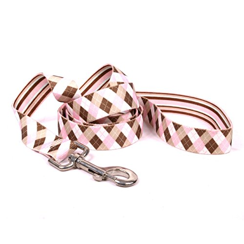 Stripes Harness Brown Dog - Yellow Dog Design, Pink & Brown Argyle w/Stripes Dog Leash, Extra Small 3/8