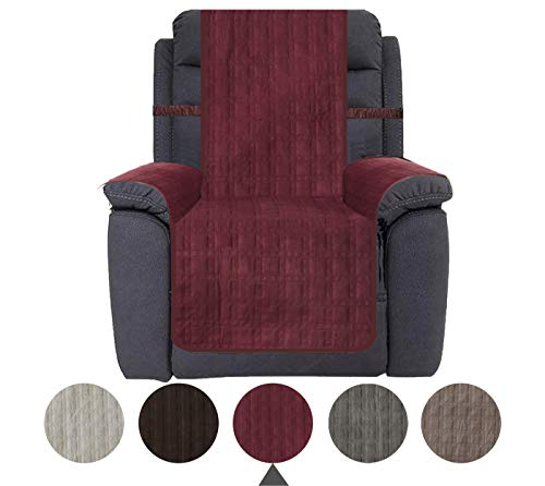 Ameritex Sofa Cover Recliner Cover Slip Resistant Slipcover Protector, Suede-Like, Furniture Protector Slipcover for Dogs, Children, Pets (Burgundy, Recliner)