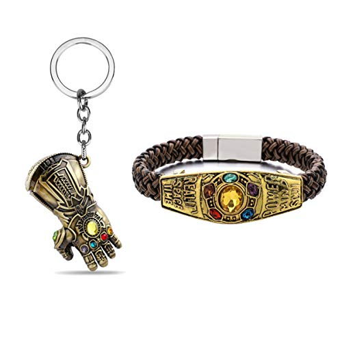 Unrend Thanos Infinite Power Soul Stone Magnet Bracelets Infinity War Cosplay Women Men Charm Bangles Jewelry (Keychain+Bracelet)
