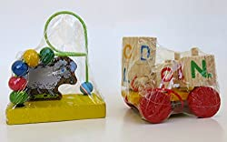 Easter Gift,Stocking Stuffers, Mini Wooden Wire Maze and a Children's Spinning Block Car, Set of 2, Very Educational and Entertaining for All Young Ages