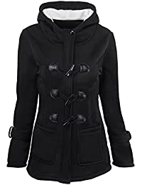 Women's Autumn Winter Classic Outdoor Wool Blended Hooded Pea Jacket
