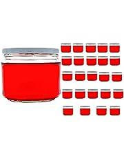 casavetro 24 x 67, 105, 210, 300, 400 ml förvaringsburkar med lock färg vita runda glas konserveringsburkar syltburkar honung, glas (24 x 300 ml)