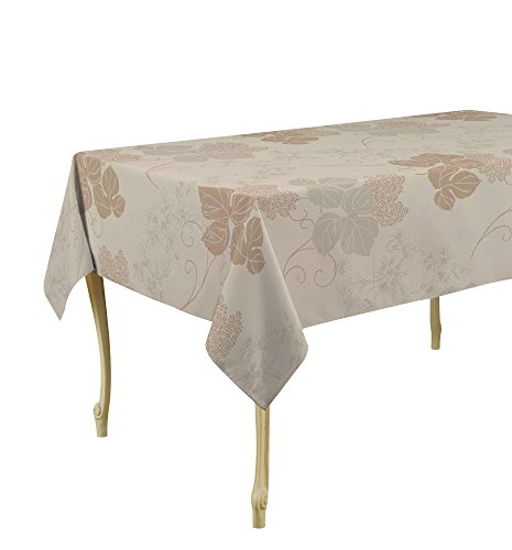 My Jolie Home Beige Flowers Rectangular Stain Resistant Tablecloth, 60 x 120-Inch - Beige (Contemporary Flowers Rectangular)