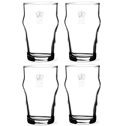 KegWorks Authentic British Imperial Half Pint Nonic Beer Glass with Etched Crown Seal - 10 oz - Set of 4- Gift Boxed - Half Pints Beer
