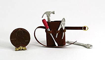 Miniature Tool Pouch  Brown Leather  Handcrafted Prestige 1//12th Scale