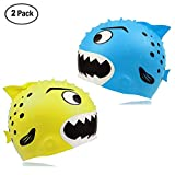 GGCACINO Swim Cap for Kids Toddler,Fun Design Swim Hat Silicone Sharks Waterproof Swimming Caps for Boys and Girls,(2 pc) Aged 3-12