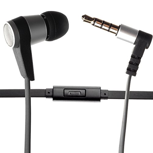 Single Earbud Stereo-to-Mono Headphone w/Mic , Aluminum with Rubberized Ribbon Cable