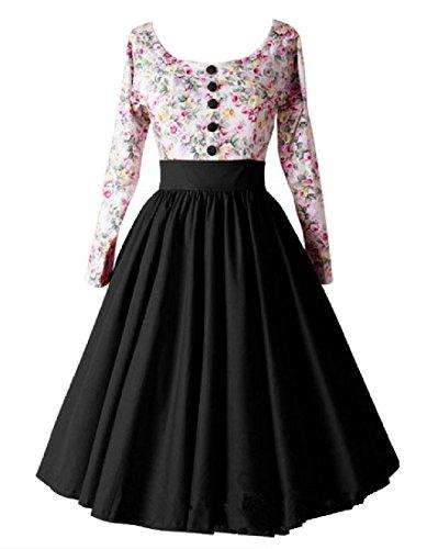 La Couture Des Femmes Coolred Élégant Sexy Grand Ourlet Floral Mi Longueur Robe Noire