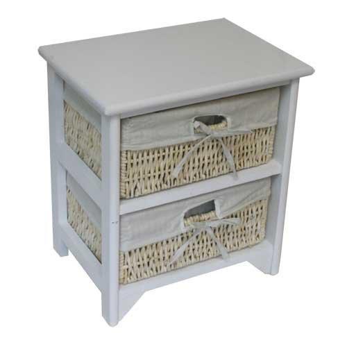 JVL - Mueble con 2 cajones (Mimbre y Madera), Color Blanco ...