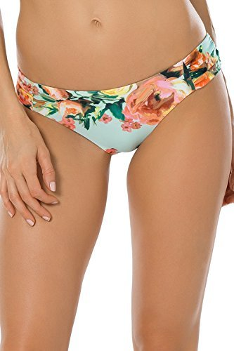 Becca by Rebecca Virtue Women's Tab Side Hipster Bikini Bottom Sea Glass L