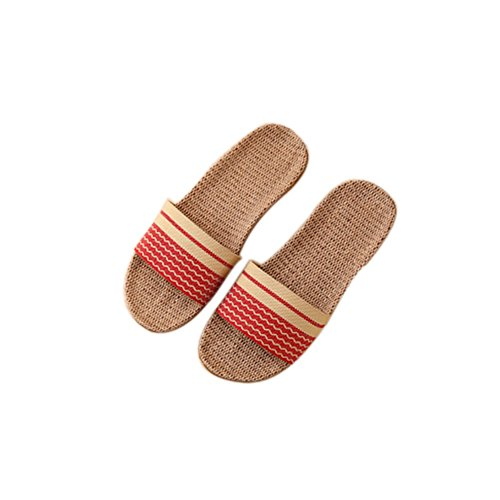 Wood and Home flooring Slippers Slippers Linen Men Women Home Anti Slip Couple Red TELLW Indoor Summer Thick Bottom 1KFq5zyy