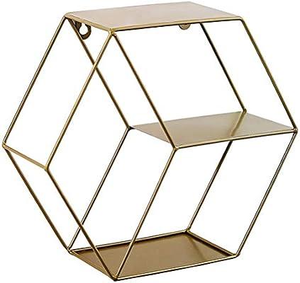 XINTECH Estante Europeo Estante de Pared de Rejilla Hexagonal de Hierro Forjado Colgante de la Sala de Estar Dormitorio Rack Decorativo de Pared