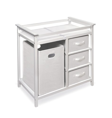 Badger Basket Modern Changing Table with 3 Baskets and Hamper, White (Changing White Table Baby)