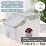 m·kvfa Multi-function Flip Cover Sealed Insect-proof And Moisture-proof Rice Bucket Storage Container Box for Storing Rice Flour Dry Food Pet Food and More (15kg)