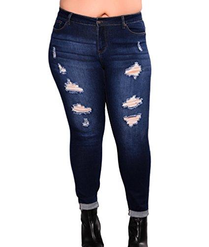 Denim Femme Pantalons Bleu lgante Grande Stretch Taille Dcontracte Taille Ripped Skinny Mid Jeans Dooxi Fonc TZwFUU