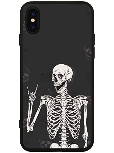 - LuGeKe Skeleton Phone Case Cover for iPhone 7 Plus/iPhone 8 Plus Smile Skull Printed Phone Cover Shell Frame for iPhone Drop Protection Reinforced Protector