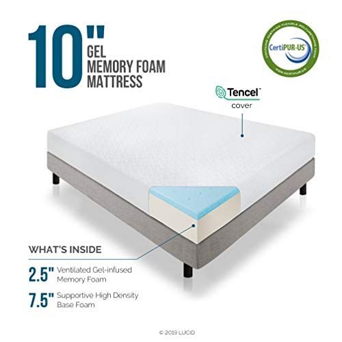 LUCID 10 Inch Gel Memory Foam Mattress - Medium Feel - CertiPUR-US Certified - 10-Year U.S. Warranty - Queen