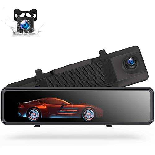 "TOGUARD 4K Mirror Dash Cam Backup Camera for Cars Voice Control GPS Tracking, 12"" Full Touch Screen Rear View Front and Rear Dual Dash Cam Waterproof Reverse Camera Mirror with Parking Assistance"