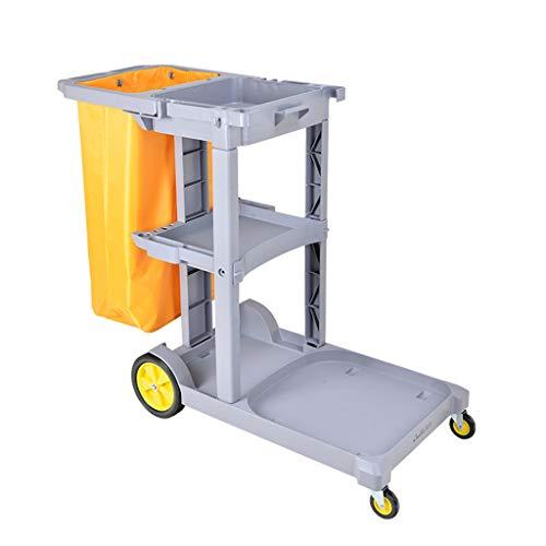 Trolley Coverless schoonmakende kar, multifunctionele reiniging, linnen servicewagen, grote capaciteit vuilniszak, drie…