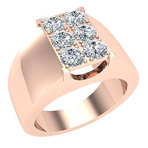 (1.26 ct tw Six Stone Men's White Diamond Cluster Ring 18K Rose Gold (Ring Size 9.5))