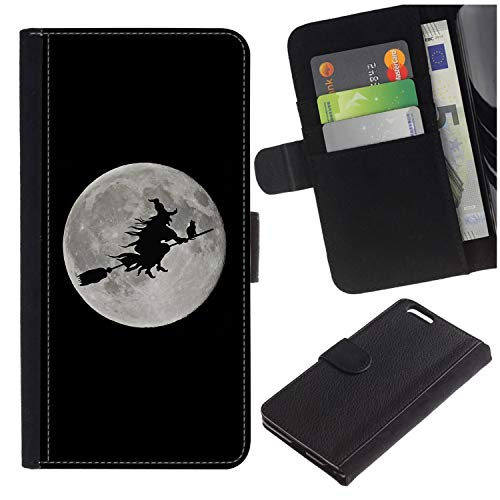 [Halloween Witch Flying Across Moon] for LG Aristo/LG Phoenix 3 / K8 2017 / Fortune/Risio 2 / K4 2017 / V3, Flip Leather Wallet Holsters Pouch Skin Case ()