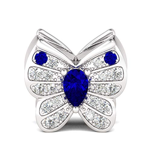 GNOCE Blue Hope Butterfly Charm Beads 925 Sterling Silver Bead Charm Pendant Dangle Sparkling Sparkling Butterfly with Crystals for Bracelet/Necklace Women Girls Gift