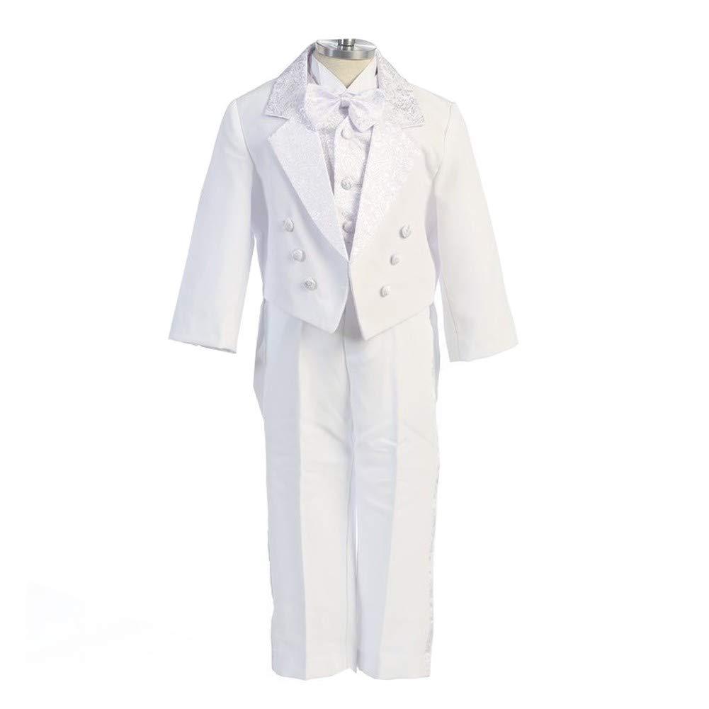 Angels Garment White 5 Piece Angel Vest Tuxedo Baptism Set Boys 3M-4T