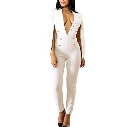 QuneusHot Women's Plunge Deep V Neck Slim Double Breasted Poncho Coat Tailored Blazer Jumpsuit Pants Suit Plus Size White