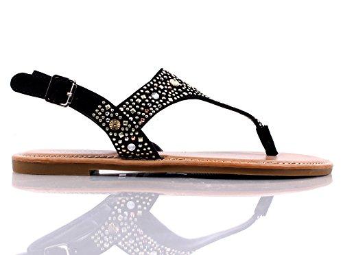 Bambu Nya Avslappnade Glitter Fotled Spänne Damer Kvinna Sandaler Sling Flats Skor Nya Utan Box Svart