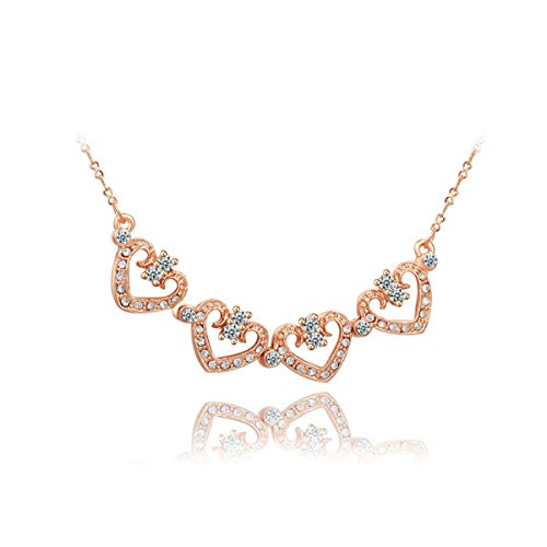 Women Cubic Zirconia My Lovely Heart Rose Gold pendant Necklace Christmas Gift