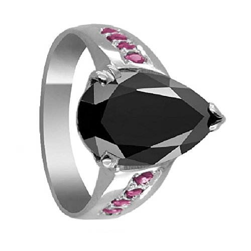 2.40 Cts Pear Cut Black Diamond Solitaire Ring in 925 Silver with Ruby Accents by skyjewels