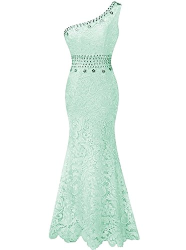 Abendkleider One Spitzen Fanciest Formelle Mint Green Kleider Kleider Meerjungfrau Damen Shoulder Ball w45wqgA0x