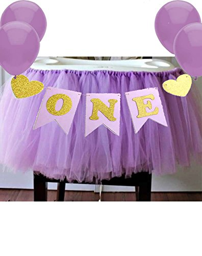Alemon Purple 1st Birthday Baby Tutu for High Chair Decoration and ONE Pennant Happy Birthday for Highchair