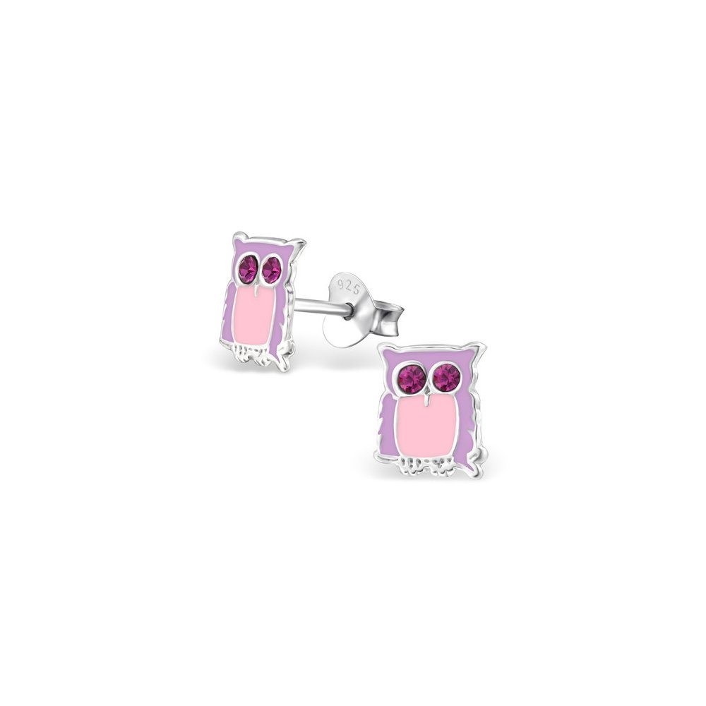 Girls Owl Crystal Ear Studs 925 Sterling Silver