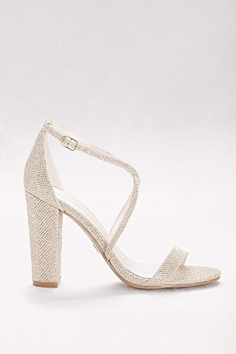 448787bc7 David's Bridal Crisscross Strap Block Heel Sandals Style Frenzy, Gold, 7.5