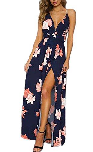 SUNVOOL Maxi Vestito Estive Donna Abito Da Sera Schiena Nuda Femminili Vestiti Senza Maniche Dress Puro Colore Eleganti Abiti Allacciatura Bonitas Blue2
