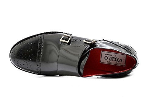 Women's VITELO Double Monk Semi-Brogue Leather Shoes F 116 Black tVbZkRHwF