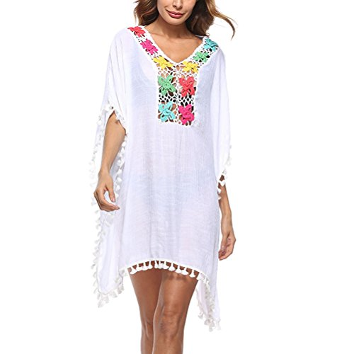 Zhhlinyuan Cover Womens Holiday Kaftan Tassel Dress Swimsuit Beachwear Fashion Dresses Bikini up White Casual qqF5xC4