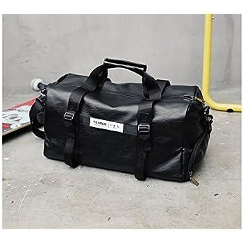 22920573f8b7 Yunqir Multi-Function Fashion Outdoor Large Capacity PU Leather Gym Bag  Sports Holdall Travel Weekender Duffel Bag(Black)