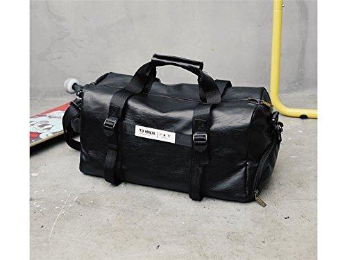 ADream Durevole Borsone sportivo da viaggio in pelle PU borsa da viaggio grande capacità all'aperto borsa da viaggio Weekender (nero)