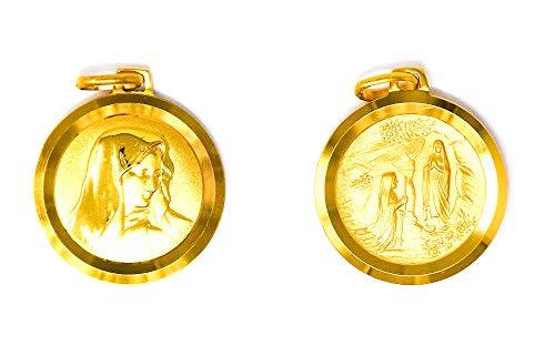 Our Lady of Lourdes Pendant/Gold Catholic Virgin Mary Medals 18 Carat Gold & Lourdes Prayer Cards